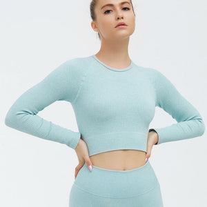Seamless Long Sleeve Sports Shirts Women Tops Fitness Gym T Shirt Femme Ropa Deportiva Running Top Quick Dry Fit Sports wear