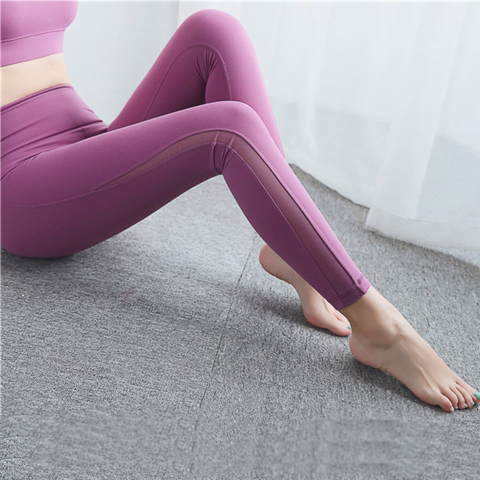 Sexy Women Fitness Leggings Fashion Sports Calf Side Mesh Breathable High Waist Push Up leggins Elastic Gym Pants Joga Clothing
