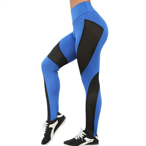 Slim Splice Running Joga Pants Women Hollow Out femme High Waist Patchwork Leggings Training Fitness Gym Leggins Elastic Sports