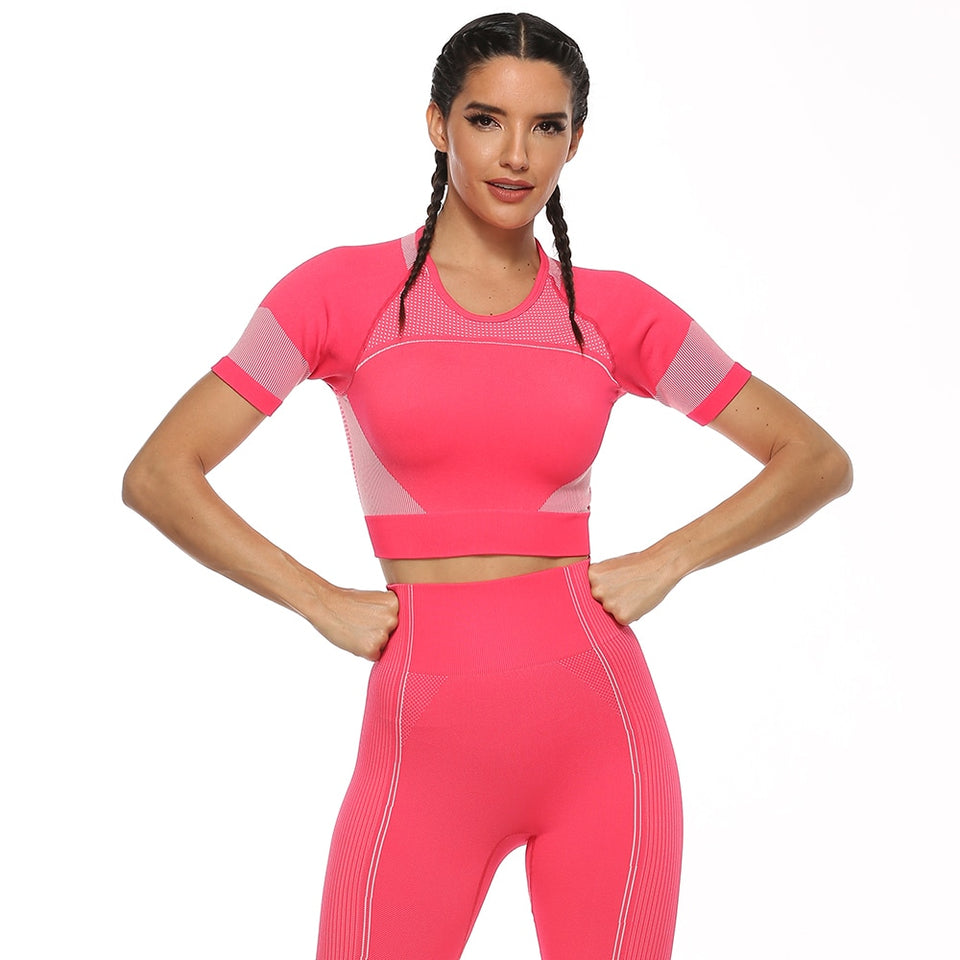 Women 2 Piece Set Sports Two Piece Sets Fitness Tops Joga Pants Gym Clothing Workout Leggings Elastic Waist Hollow Tracksuit