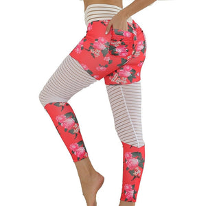 New Patchwork Floral Print Sports Pocket Joga Pants Running Pants Woman Fitness Pocket Mesh Waist Legging Workout Sportswear