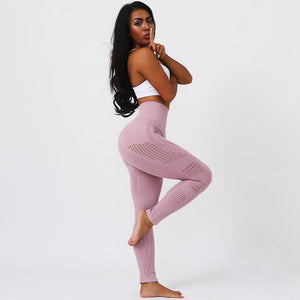 Seamless Hollow Pattern Sports Leggings Women Fitness Push Up High Waist Leggins Mujer Joga Sweat Pants Joggers Jeggings 7color