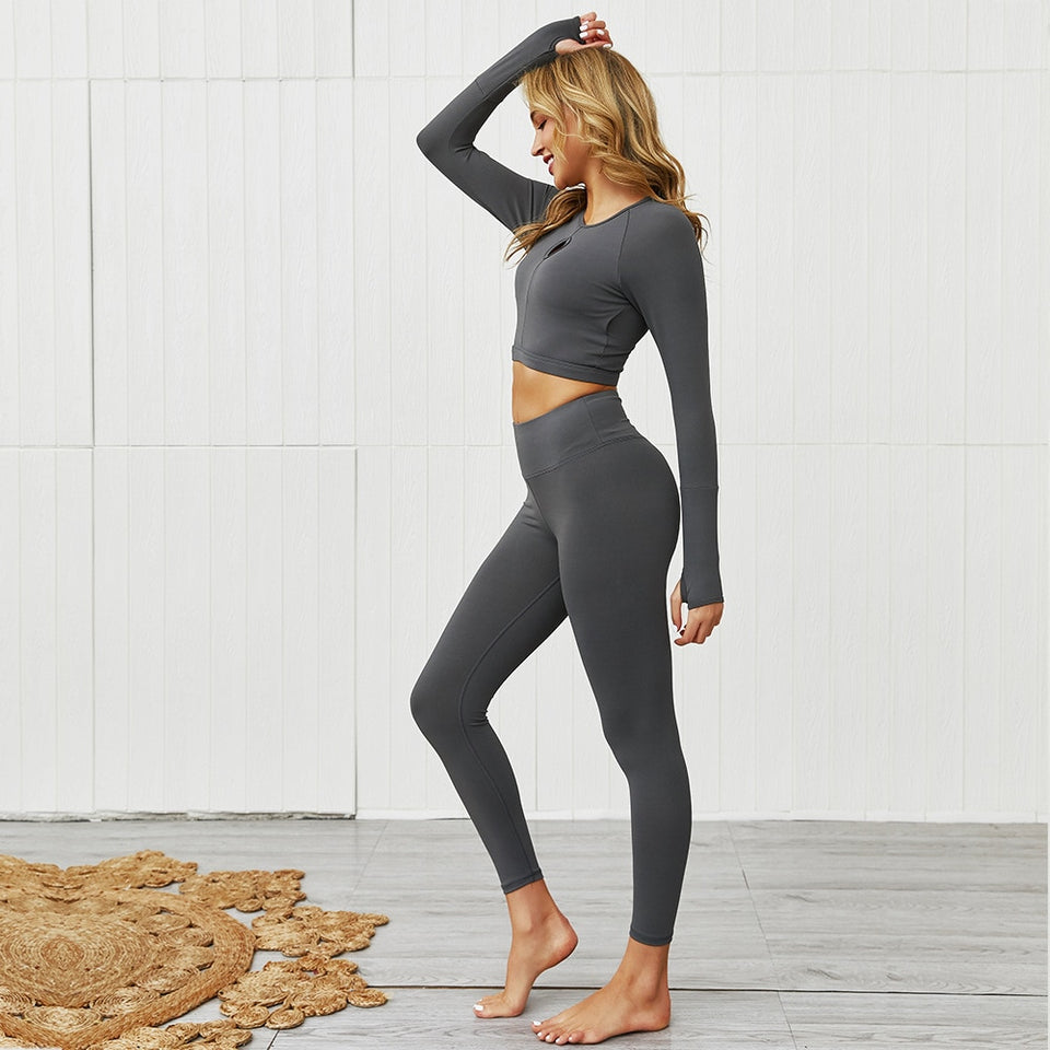 Fashion Solid Color Two Piece Set Top Running Women Fitness Femme Tracksuit Workout Gym Sexy Tight Hip Joga Sportwear Clothing