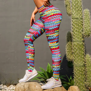 Knitted Simulation Women's 3D Wool print pants High Waist Girls Workout Fit Push Up Joga Leggings Gym Athletic women Pencil pant