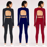 2PCS Backless Joga set Women Sport Suit Crop Top Workout Pants Gym High Waist Leggings
