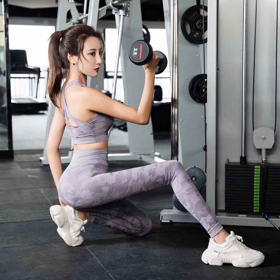 Seamless sets Leggings-Bra Sexy 2Piece Set Sleeveless Cross Top High Waist Fitness Pants Women