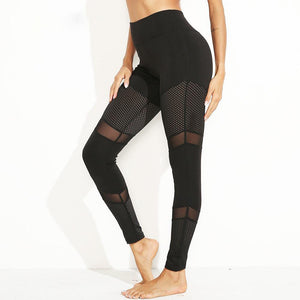 High Waist Mesh Splicing Joga Pants Black Fitness Women Sexy Elastic Sport Leggins GYM Slim Running Sportswear Training Trousers