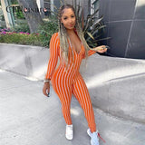 Sexy Striped V-neck Summer Sport Jumpsuit