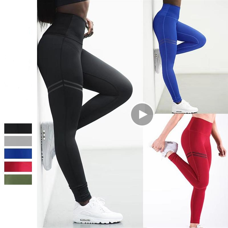 V-NECK POLYESTER WAIST LEGGING FOR WOMEN