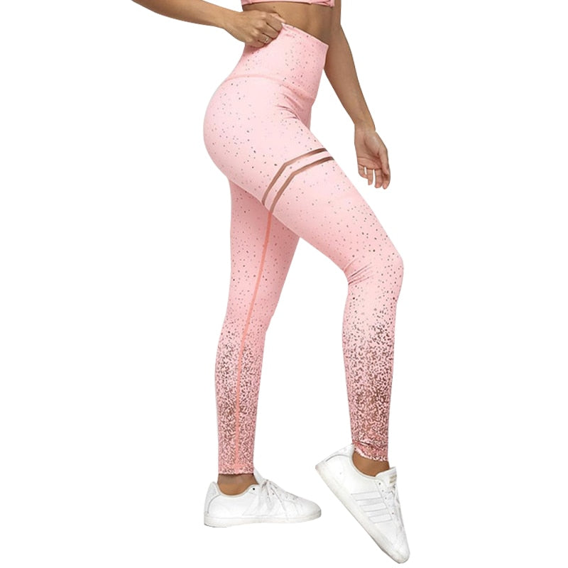 ACTIVE TRAINING LEGGINGS WITH GOLD PRINT FOR WOMEN