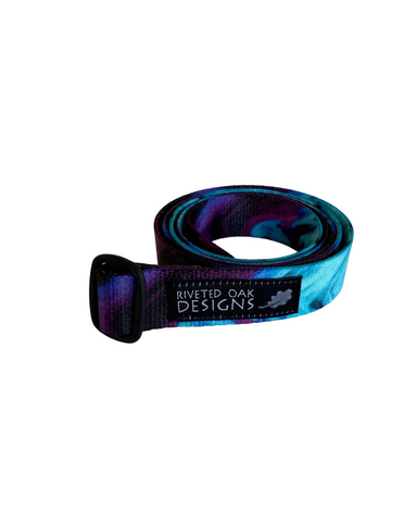 "1"" Purple Teal Swirl Webbing Belt"