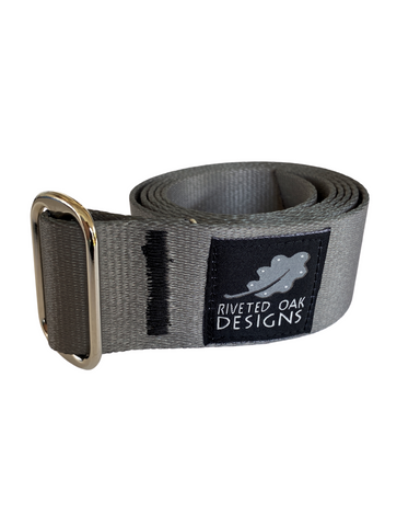 "CLOSEOUT - Single Slide 1.5"" Grey Webbing Belt"