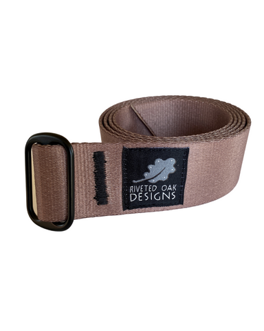 "CLOSEOUT - Single Slide 1.5"" Tan Webbing Belt"