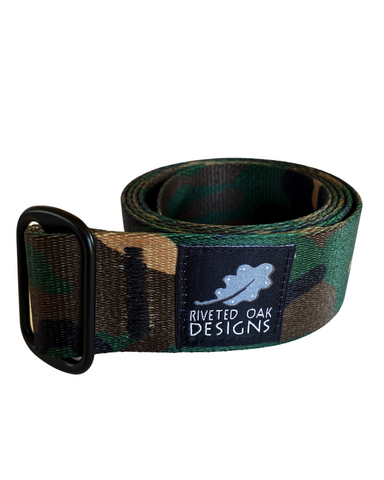 "CLOSEOUT - Single Slide 1.5"" Woodland Camouflage Webbing Belt"