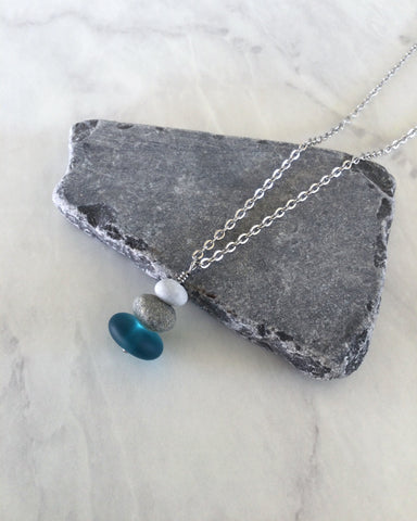 3 Stone Teal Glass & Pebble Cairn Necklace