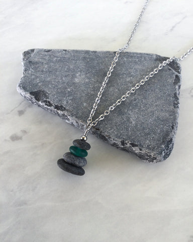 4 Stone Sea Green Glass & Flat Pebble Cairn Necklace