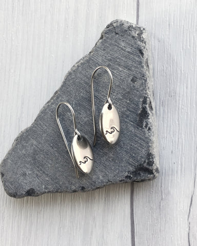 Oval Wave Steel Earrings