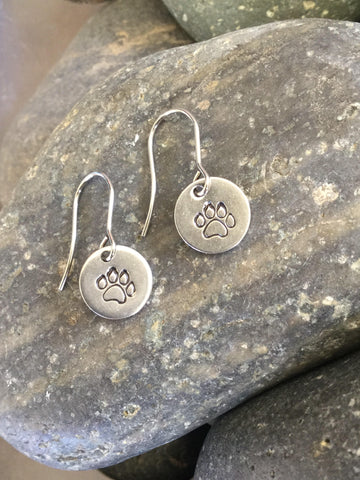 Paw Print Steel Earrings