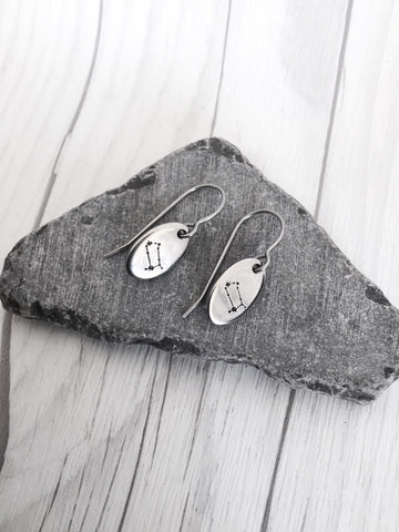 Gemini Zodiak Steel Earrings - Riveted Oak Designs