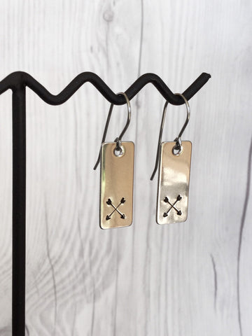 Rectangle Arrow Steel Earrings