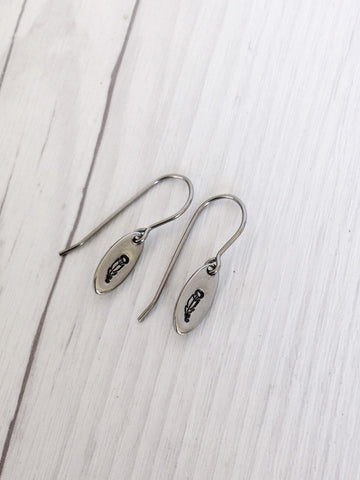 Tiny Feather Steel Earrings