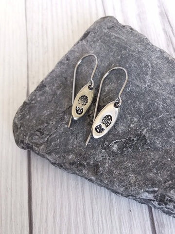 Tiny Boot Print Steel Earrings