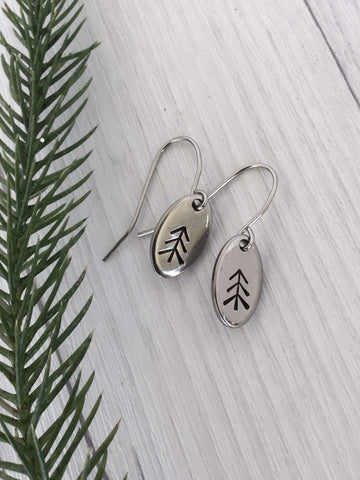 Straight Pine Tree Oval Stainless Steel Earrings