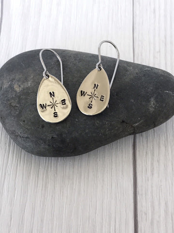 Teardrop Compass Steel Earrings
