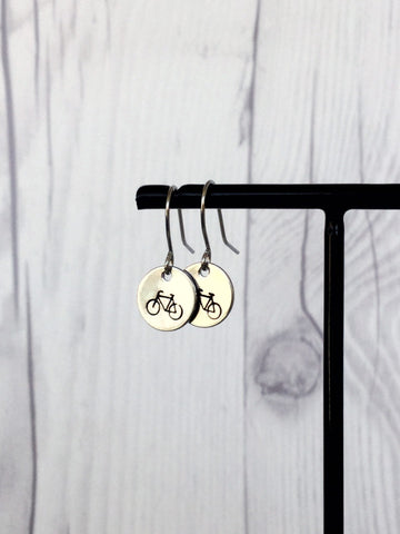 Bicycle  Steel Earrings - Riveted Oak Designs