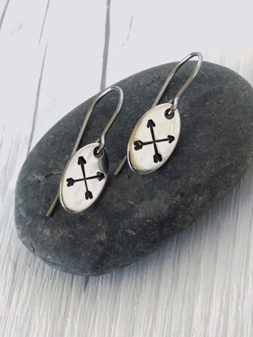 Oval Crossed Arrows Steel Earrings