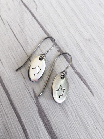 Libra Zodiak Steel Earrings