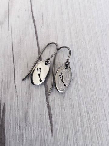 Taurus Zodiak Steel Earrings