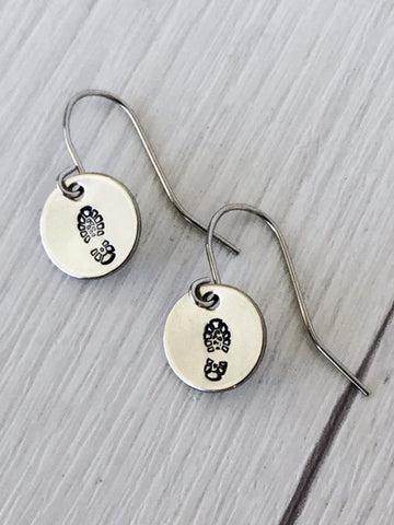 Boot Print Round Stainless Steel Earrings