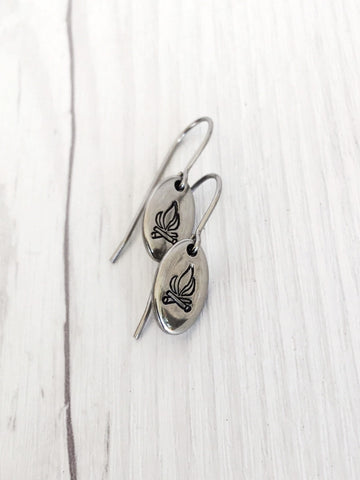 Oval Campfire Steel Earrings