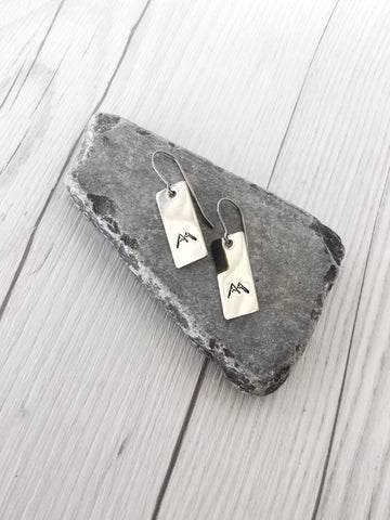 Rectangle Mountain Steel Earrings