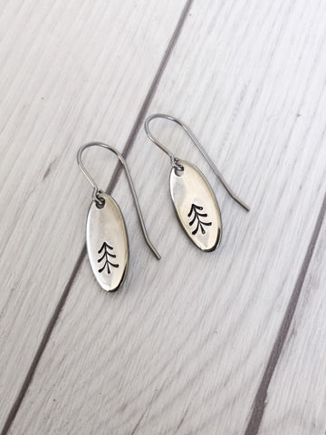 Long Oval Pine Tree Steel Earrings