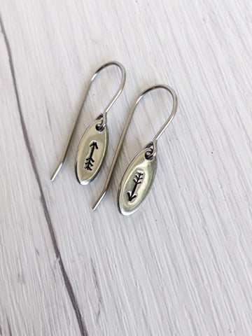 Tiny Arrow Oval Stainless Steel Earrings