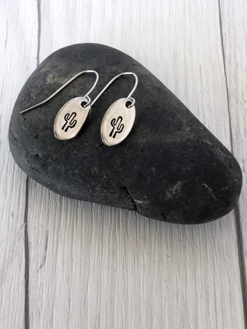Cactus Steel Earrings - Riveted Oak Designs