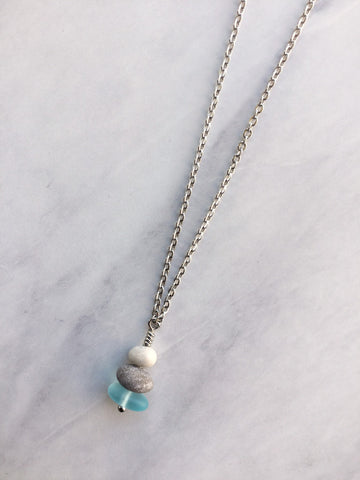 3 Stone Light Blue Glass & Pebble Cairn Necklace
