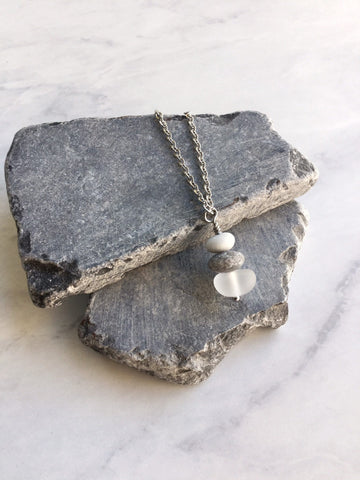 Clear Glass & Pebble Cairn Necklace - Riveted Oak Designs