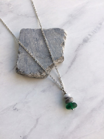 Dark Green Glass & Pebble Cairn Necklace - Riveted Oak Designs