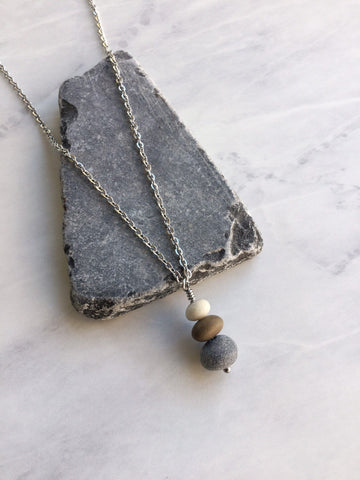 Beach Pebble Cairn Necklace - Riveted Oak Designs