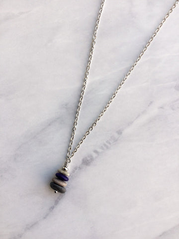 Blue Glass & Pebble Cairn Necklace - Riveted Oak Designs