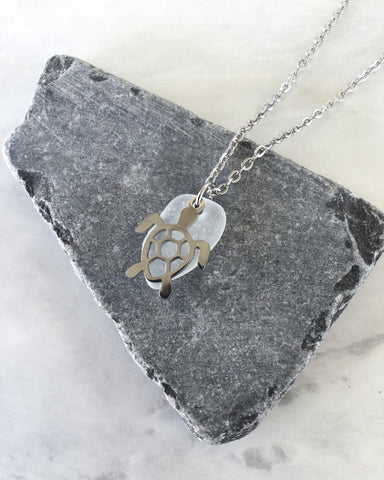 Dainty Stainless Steel Glass Sea Turtle Necklace - Turtle Pendant - Beach Glass Necklace - Sea Glass Necklace - Beach Glass Pendant