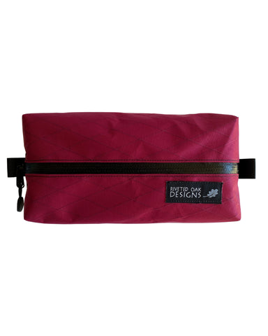 "Port 8""x4""x2"" Box Pouch - Ultralight Pouch - Zipper Pouch - VX21 X-Pac Pouch - Ultralight Backpacking Gear - Burgundy Pouch"