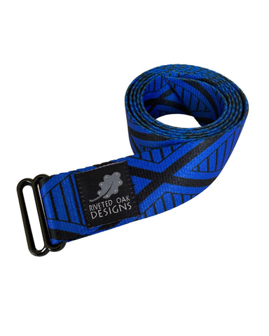 "Blue Diamond Webbing Double Slider Belt - 1.5"" Blue Hiking Belt - Backpacking Belt - EDC Belt - Hiking Gear - Backpacking Gear"