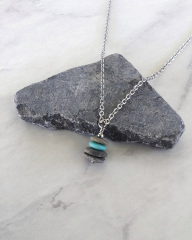 4 Stone Aqua Glass & Flat Pebble Cairn Necklace