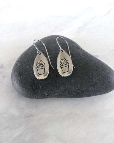 Potted Succulent Teardrop Stainless Steel Earrings