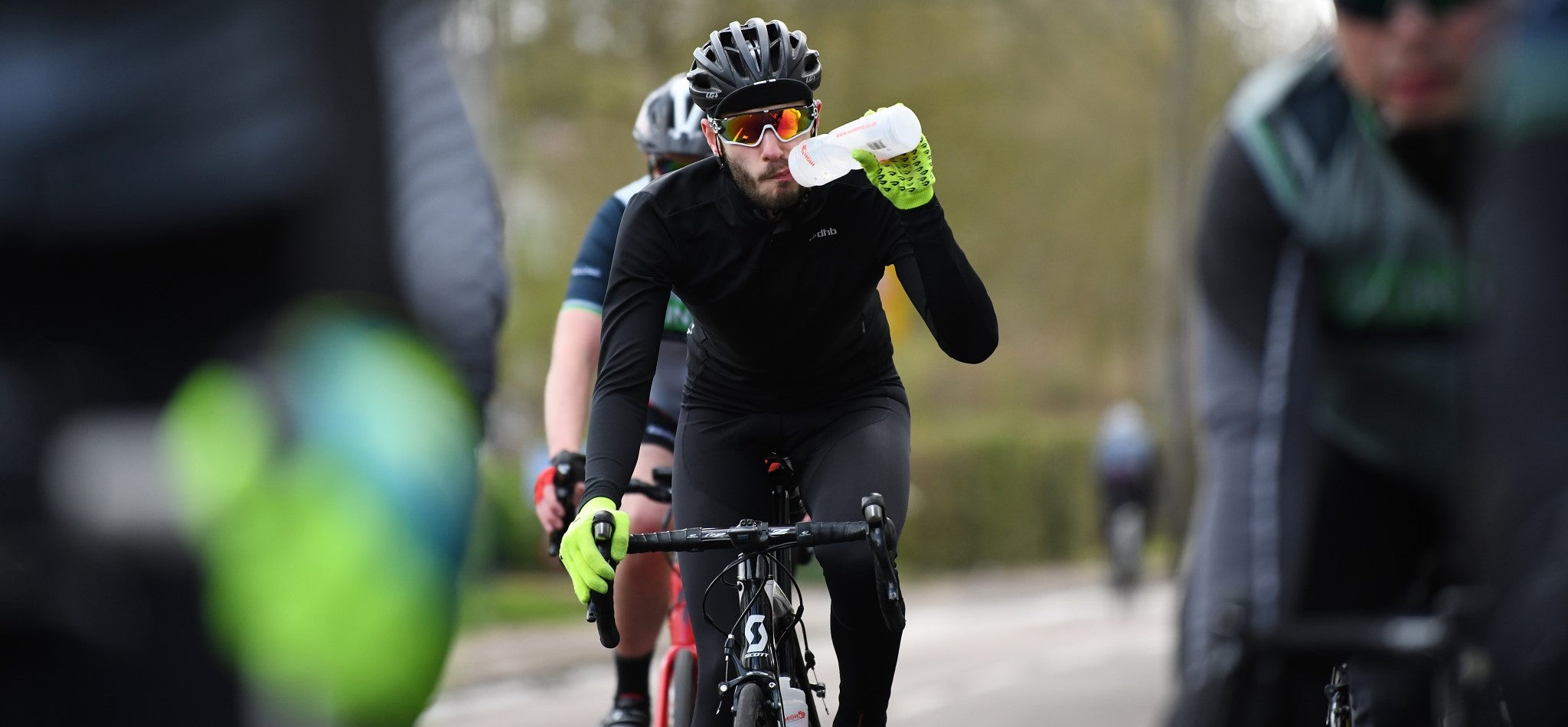 Cyclist takes a drink