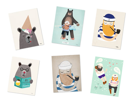 Bears & Sailors Pack - 6 cards A5 size